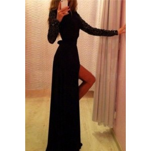 Sexy Round Neck Long Sleeve Solid Color Sequined Furcal Dress For Women black