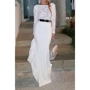 Sexy Round Neck Long Sleeve Spliced Solid Color Maxi Dress For Women white