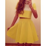 Sexy Round Neck Short Sleeve Color Block Crop Top + High-Waisted Skirt Twinset For Women yellow