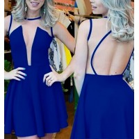 Sexy Round Neck Sleeveless See-Through Backless Dress For Women blue