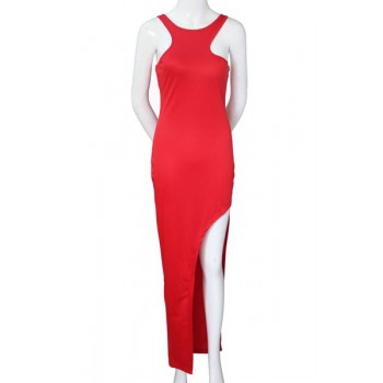 Sexy Round Neck Sleeveless Solid Color Asymmetrical Dress For Women red black