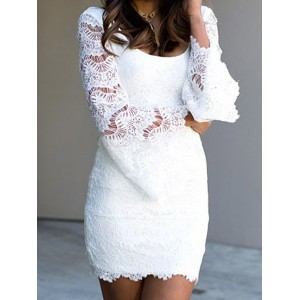 Sexy Scoop Collar Long Flare Sleeve Solid Color Dress For Women white