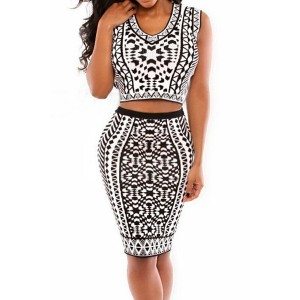 Sexy Scoop Collar Sleeveless Printed Tank Top + Skinny Skirt Twinset For Women white black