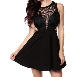 Sexy Scoop Collar Sleeveless See-Through Hollow Out Dress For Women black