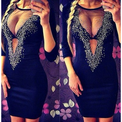 Sexy Scoop Neck 3/4 Sleeve Spliced See-Through Dress For Women black