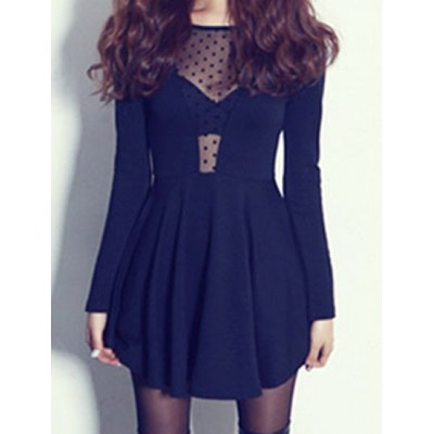 Sexy Scoop Neck Long Sleeve See-Through Backless Dress For Women black