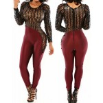 Sexy Scoop Neck Long Sleeve Spliced Hollow Out Jumpsuit For Women red black