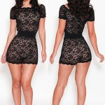 Sexy Scoop Neck Short Sleeve Solid Color Lace Jumpsuit For Women black