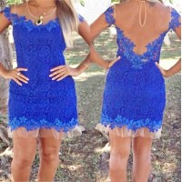 Sexy Scoop Neck Short Sleeve Spliced See-Through Dress For Women blue