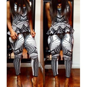 Sexy Scoop Neck Sleeveless Flounced Tank Top + Printed Bodycon Pants Twinset For Women