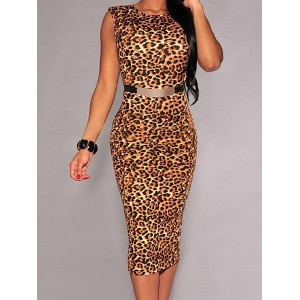 Sexy Scoop Neck Sleeveless Leopard Print Dress For Women