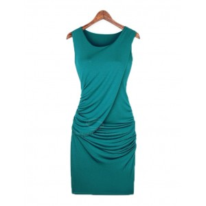 Sexy Scoop Neck Sleeveless Solid Color Draped Club Dress For Women blue khaki black