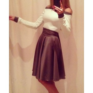 Sexy Slash Collar Long Sleeve Spliced Color Block Dress For Women white
