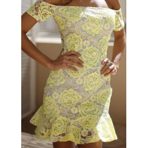 Sexy Slash Collar Short Sleeve Flower Pattern Flounced Dress For Women yellow