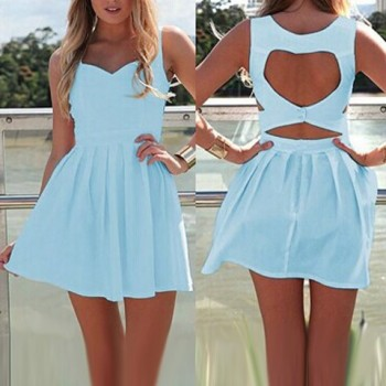 Sexy Sleeveless Sweetheart Neck Solid Color Hollow Out Dress For Women black blue white