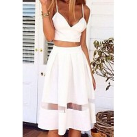 Sexy Spagahetti Strap Sleeveless Solid Color Tank Top + High-Waisted Skirt Twinset For Women white