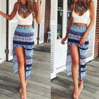 Sexy Spaghetti Strap Low Cut Tank Top + Printed Asymmetrical Skirt Twinset For Women blue white