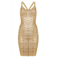 Sexy Spaghetti Strap Sleeveless Spliced Bodycon Bandage Dress For Women gold