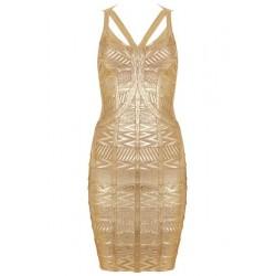 Sexy Spaghetti Strap Sleeveless Spliced Bodycon Bandage Dress For Women gold