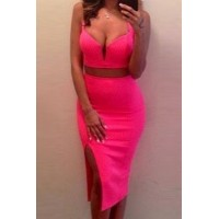 Sexy Spaghetti Strap Sleeveless Tank Top + Solid Color Furcal Skirt Twinset For Women rose