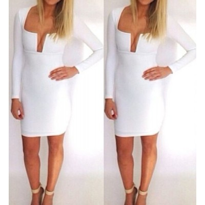Sexy Square Neck Long Sleeve Solid Color Low Cut Dress For Women black white