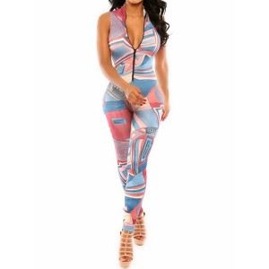 Sexy Stand-Up Collar Sleeveless Printed Zipper Design Jumpsuit For Women