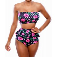 Sexy Strapless Flounced Floral Print Two-Piece Swimsuit For Women red black
