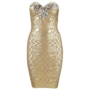 Sexy Strapless Sleeveless Rhinestoned Bodycon Bandage Dress For Women gold
