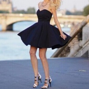 Sexy Strapless Sleeveless Solid Color Black Skater Dress For Women blue