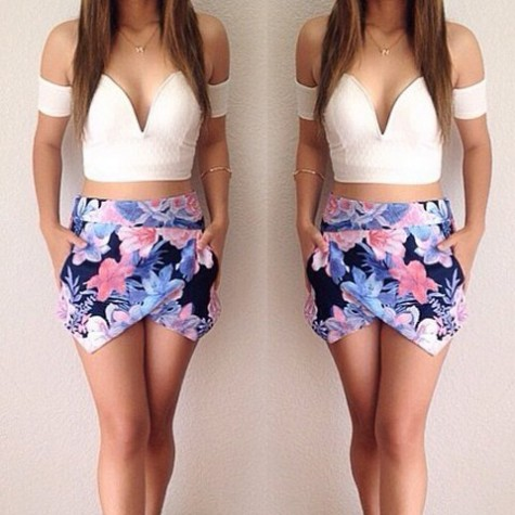 a1ed52b4ae30e Sexy Sweetheart Neck Short Sleeve Crop Top + Floral Print Skirt Twinset For  Women
