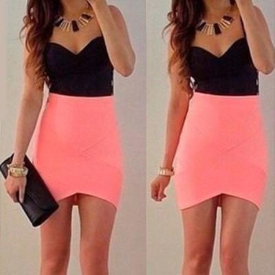 Sexy Sweetheart Neck Sleeveless Color Block Asymmetrical Dress For Women pink