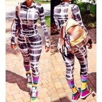 Sexy Turn-Down Neck Long Sleeve Printed Zippered Jumpsuit For Women