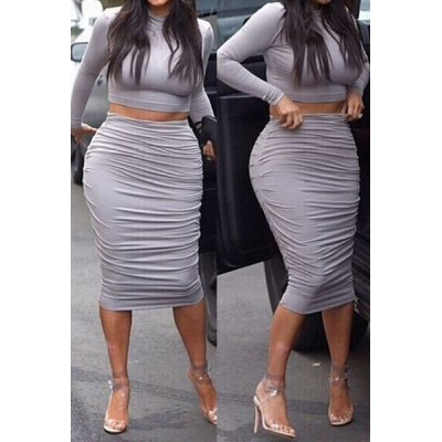 Sexy Turtle Neck Long Sleeve Solid Color Crop Top + Ruffled Skirt Twinset For Women gray