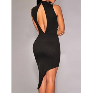 Sexy Turtle Neck Sleeveless Asymmetrical Blackless Dress For Women black