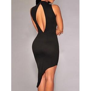 Sexy Turtle Neck Sleeveless Asymmetrical Blackless Dress For Women black