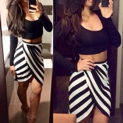 Sexy U-Neck Long Sleeve Crop Top + Striped Asymmetrical Skirt Twinset For Women black white