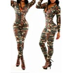 Sexy U-Neck Long Sleeve Zippered Camouflage Print Jumpsuit For Women
