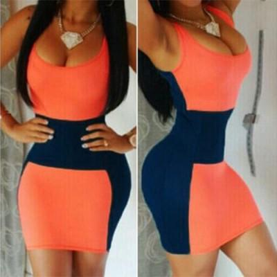 Sexy U-Neck Sleeveless Low Cut Color Block Dress For Women blue