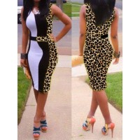 Sexy U-Neck Sleeveless Spliced Leopard Print Dress For Women