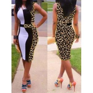 Sexy U-Neck Sleeveless Spliced Leopard Print Dress For Women
