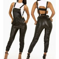 Sexy Women's Backless Black PU Leather Overalls black
