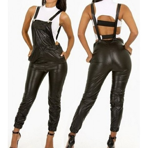 promo code best sell hot-selling clearance Sexy Women's Backless Black PU Leather Overalls black