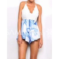 Sexy Women's Backless Spaghetti Strap Print Jumpsuit blue
