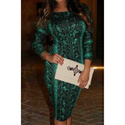 Sexy Women's Jewel Neck 3/4 Sleeve Snake Print Dress green