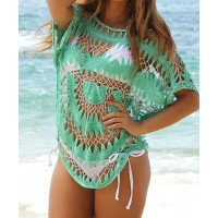 Sexy Women's Jewel Neck Openwork Dolman Sleeve Bikini Cover green