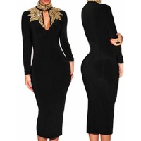 Sexy Women's Keyhole Neckline Sequined Long Sleeve Dress black