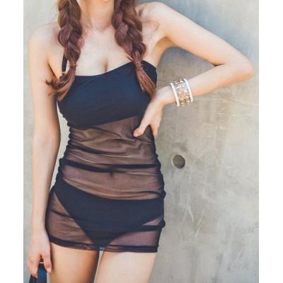 Sexy Women's Mesh Splicing Halter Two-Piece Swimsuit black