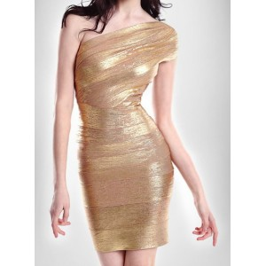 Sexy Women's One-Shoulder Backless Dress gold silver