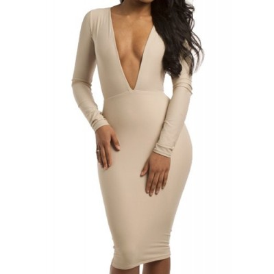 Sexy Women's Plunging Neckline Long Sleeve Backless Bodycon Dress off white