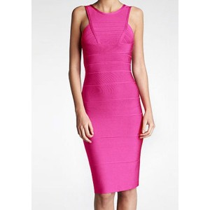 Sexy Women's Round Neck Solid Color Sleeveless Bandage Dress